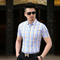 High quality new summer fashion contrast color plaid man's mercerized cotton shirt
