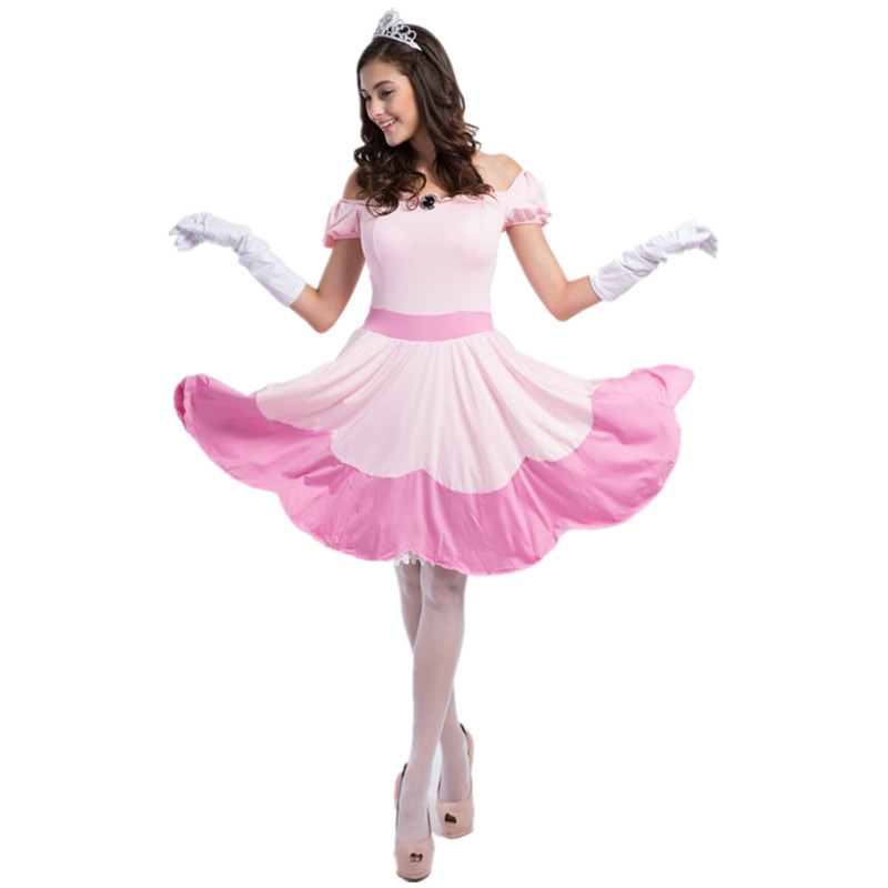 2016 New Adult Pink Snow White Cosplay Costumes Halloween Sleeping Beauty Sexy Queen Costume Women Fancy Dresses-In Holidays Costumes From Novelty -8455