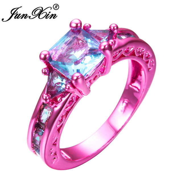 JUNXIN Fashion Female Girls Light Blue Geometric Ring Pink Gold