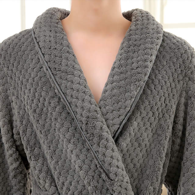 117c829f7a Men Winter Extra Long Knitted Waffle Flannel Coral Fleece Bathrobe Male  Full Sleeve Kimono Bath Robe