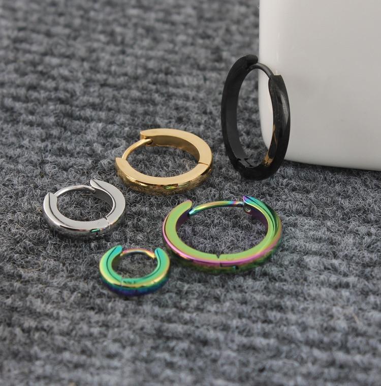 Mode punk smalle hoepel pendientes zilver goud zwart roestvrij staal - Mode-sieraden