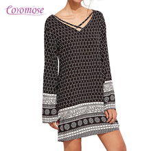 Coromose Print dress 2017 Summer Vintage Ethnic Dress Sexy Women Boho Floral Printed Casual Beach Dress