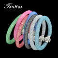 FANHUA 2017 New Colorful Tennis Chain Full Rhinestone Bracelets for Women Bijoux Fashion Jewelry