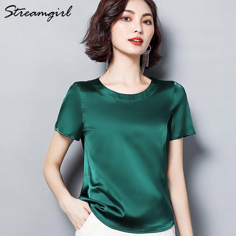 Streamgirl imitação de seda blusa de cetim manga curta blusa feminina verão senhoras blusas de escritório das mulheres tops e blusas plus size