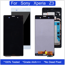 купить Grade AAA LCD For Sony Xperia Z3 Display Touch Screen Digitizer Assembly D6603 D6633 D6653 D6643 L55T LCD Replacement With Frame по цене 951.66 рублей