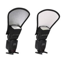 Diffuseur Flash réflecteur de lumière blanche argentée 2 en 1, accessoires de photographie, pour Canon, Nikon, Sony, Yongnuo, Minolta, Pentax, Olympus