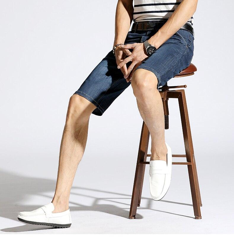 KSTUN Denim Shorts Men Jeans Ultrathin Slim Straight Black Blue Short Jeans Male Brand Clothing Businessman Shorts Jeans Homme 14