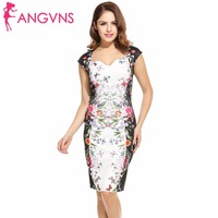 ANGVNS Summer Print Dress 2017 Women New Casual Flower Vintage Knee Length Bandage Elegant Party Dresses