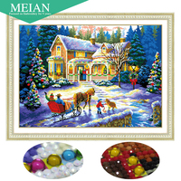 Meian Special Shaped Diamond Embroidery Scenic House 5D Diamond Painting Cross Stitch 3D Diamond Mosaic Decoration