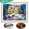 Meian Special Shaped Diamond Embroidery Scenic House 5D Diamond Painting Cross Stitch 3D Diamond Mosaic Decoration