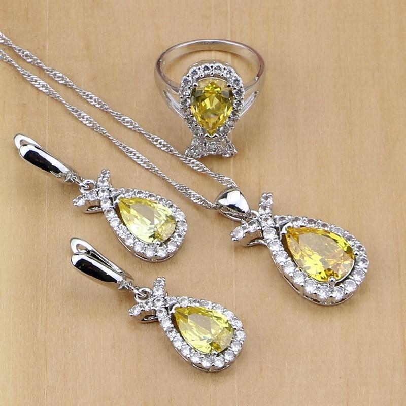925 Sterling Silber Schmuck Natürliche Gelbe Kristall Weiß Cz Schmuck-sets Für Frauen Hochzeit Ohrringe/anhänger/halskette/ringe Schmuck & Zubehör Brautschmuck Sets