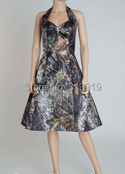 sexy halter camo evening dress  short camouflage evening  gown dress 2017 new styles custom make free shipping