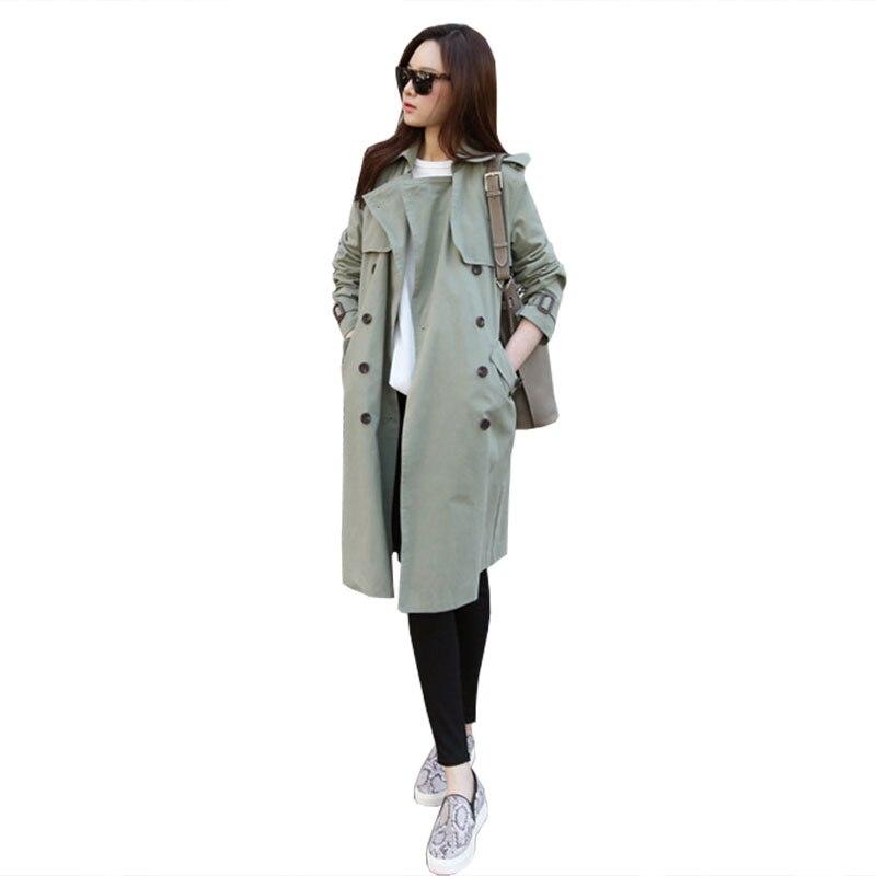 Femmes Coupe Automne Grande 2018 Mode Manteau Taille Green Nouvelle Casual Longue Printemps De vent coréen Ws45 Mi Slim Lâche khaki Fruit Section dqpFwxwEY