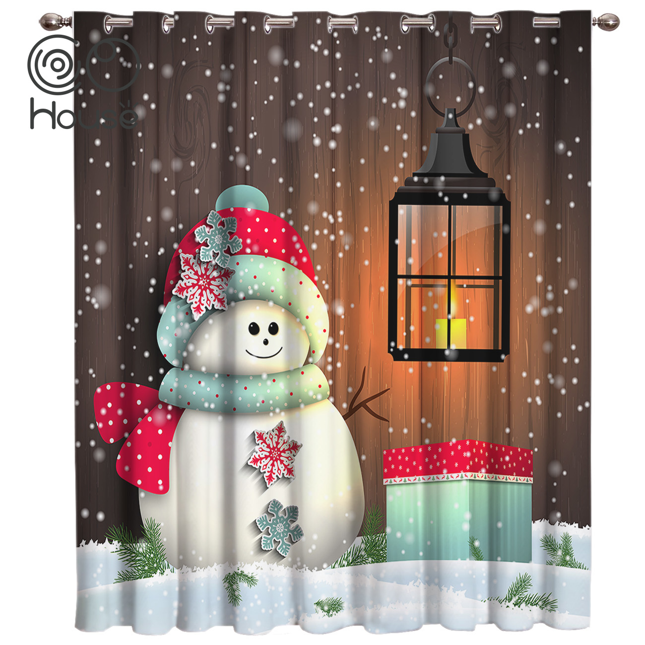 COCOHouse Christmas Snowman Window Treatments Curtains Valance Room Curtains Large Window Window Blinds Blackout Kitchen Floral