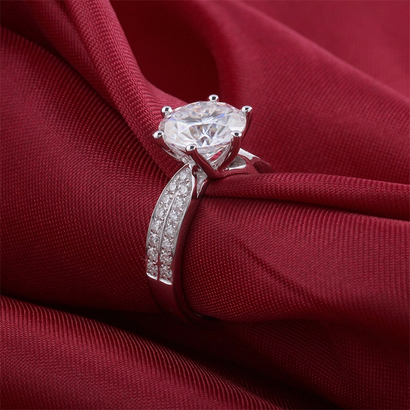 100/% 925 Sterling Silver Rings Jewelry Luxury 8mm 2 Carat CZ