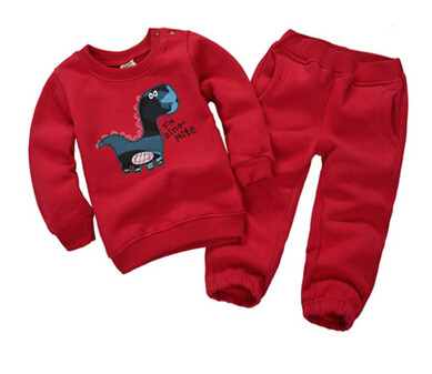 boys Kit babies clothes set kids font b hoodies b font pants thicken winter warm clothing