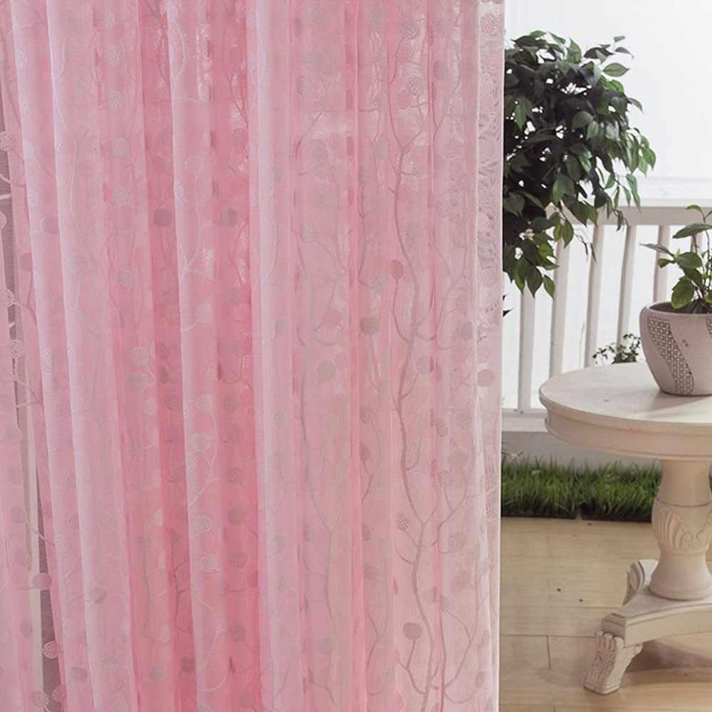 New Pink Tree Leaf Door Window Curtain Drape Panel Sheer Valances Modern Beautiful 7.3#5%