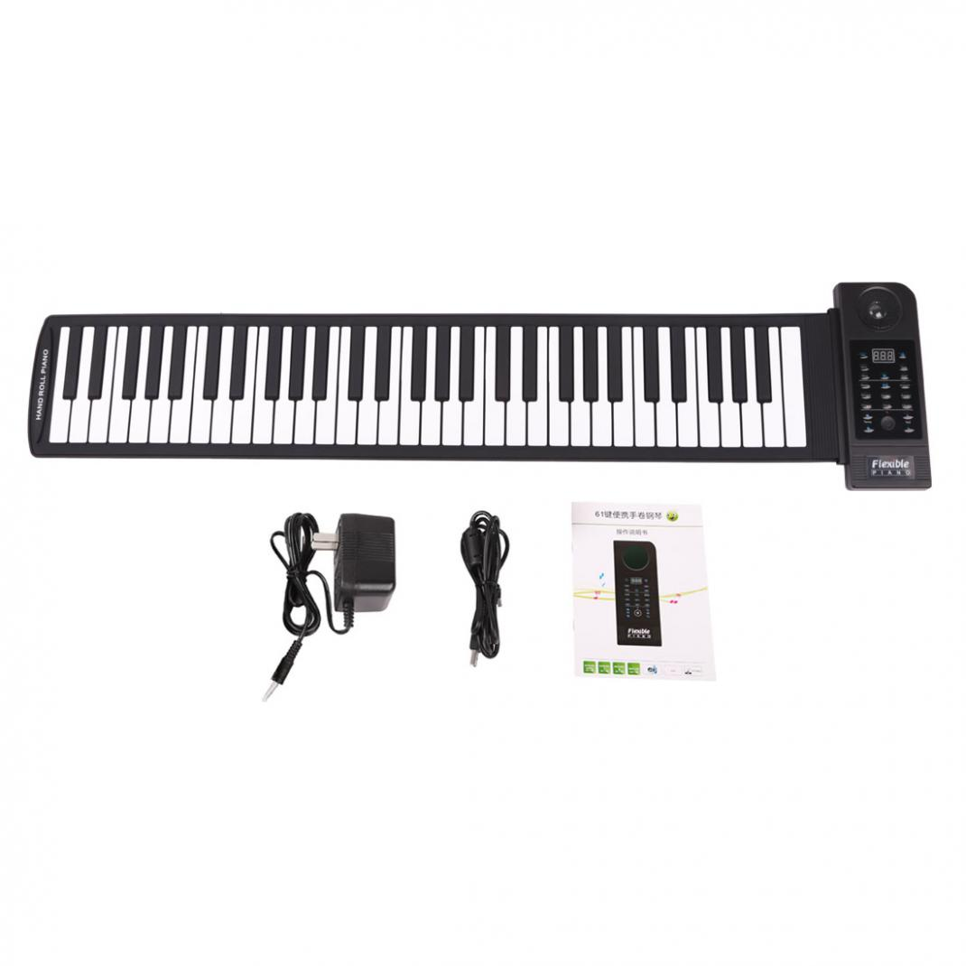 KONIX Fold  Electronic Organ PU61S Digital Display 61Keys 128 Tones Electronic Roll Up Piano Built-in Speaker