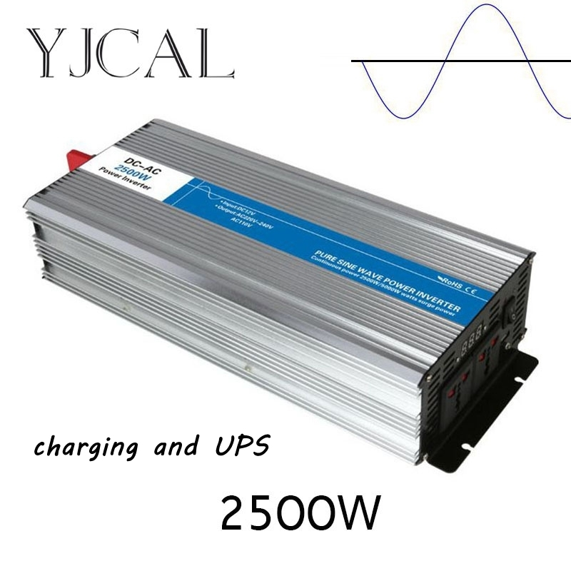 Pure Sine Wave Inverter 2500W Watt DC 12V To AC 220V Home Power Converter Frequency Electric Power Supply With Charger And UPS