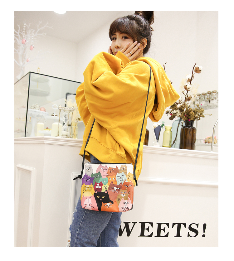 Menghuo 2017 Women Envelope Shoulder Clutch Bag Quality PU Cartoon Cat Printing Small Female Message Purse for Teenagers Girls (22)