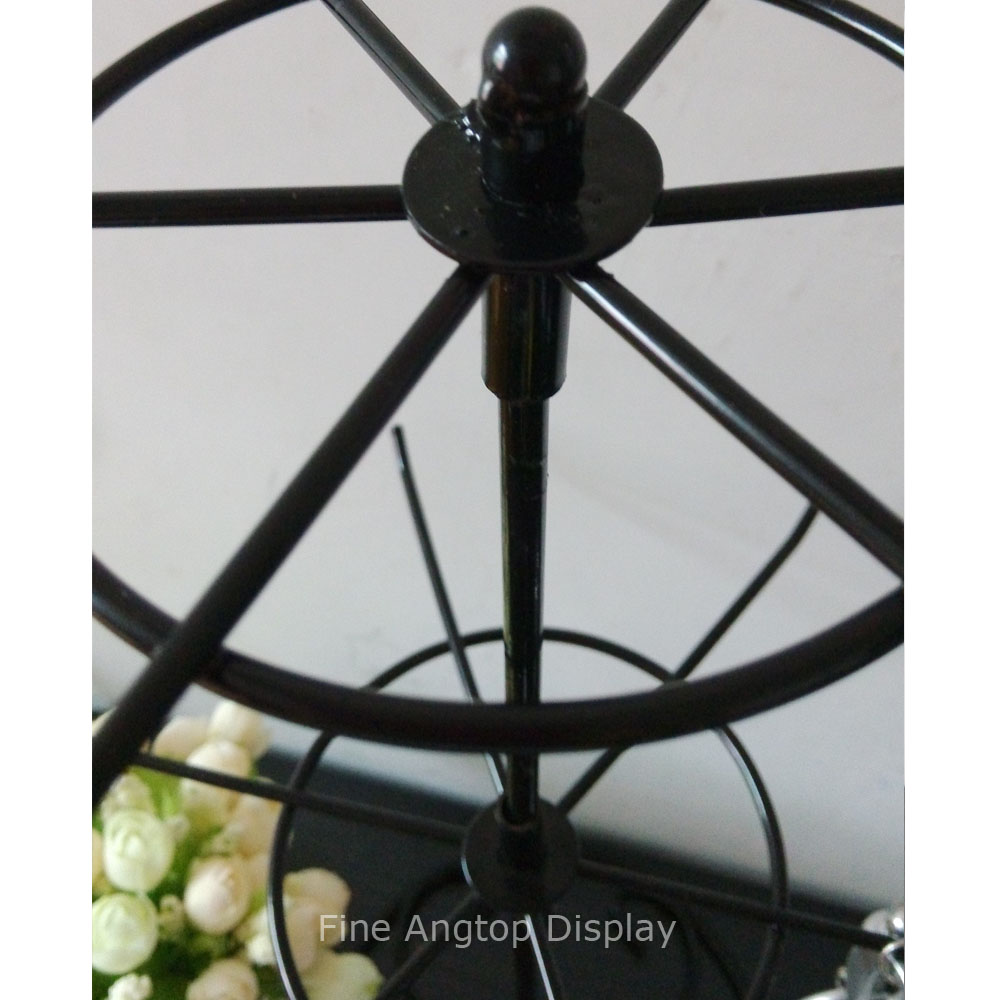 Brand-new Black Wrought Iron Rotating Holder 2 Tier Revolving Stand Rack  GU91