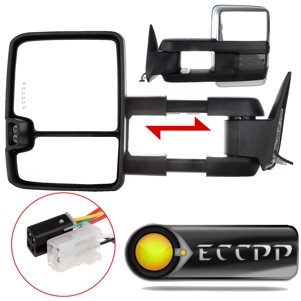 Eccpp pair power chrome car rearview mirror smoke led signals towing mirrors lh rh for 1988