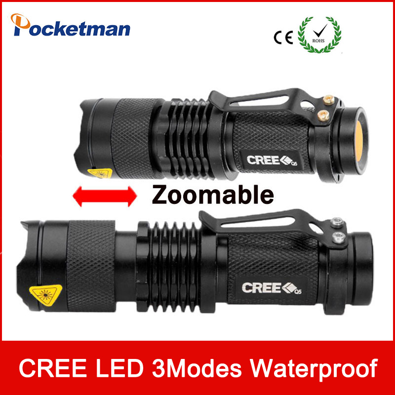 CREE Q5 LED Flashlight Waterproof Torch Adjustable Focus Zoomable Light Lamp 3 modes For Bicycle Hiking zk50