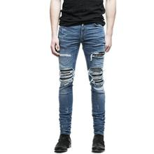 New Fashion Mens Denim Pants Clothing Zipper Skinny Biker Jeans Men Slim Fit Jean Vintage Ripped Blue Men's Denim Jeans tie dyed zipper embellished biker jeans