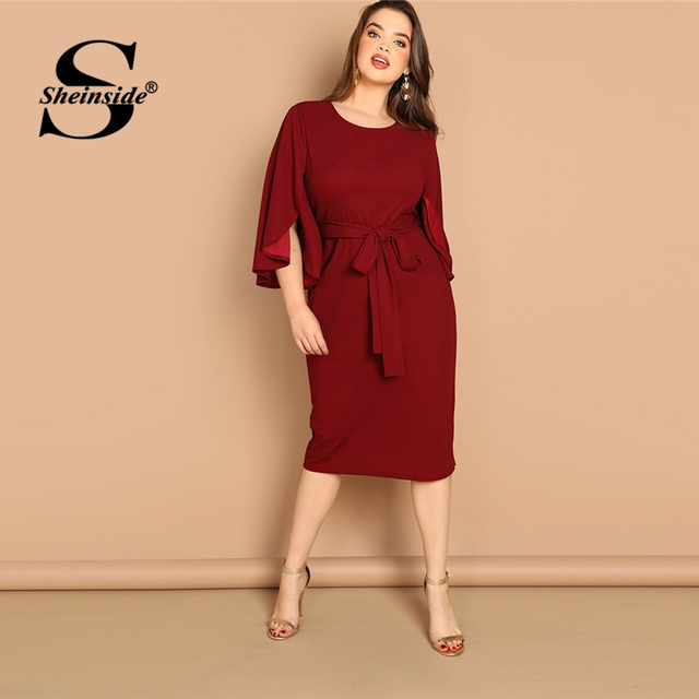 Sheinside Plus Size Flutter Sleeve Tie Waist Women Bodycon Dress Elegant Solid Long Womens Dresses Burgundy Ladies Pencil Dress