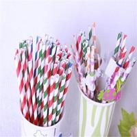New Environmental 1000 PCS Striped Paper Drinking Straws For Wedding Birthday Prom Bar Pub Supply