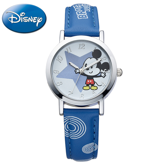 Cute Minnie mouse kids cartoon good PU watch Lovely Girls fashion casual simple quartz wristwatch Brand Disney 54130 Flower star