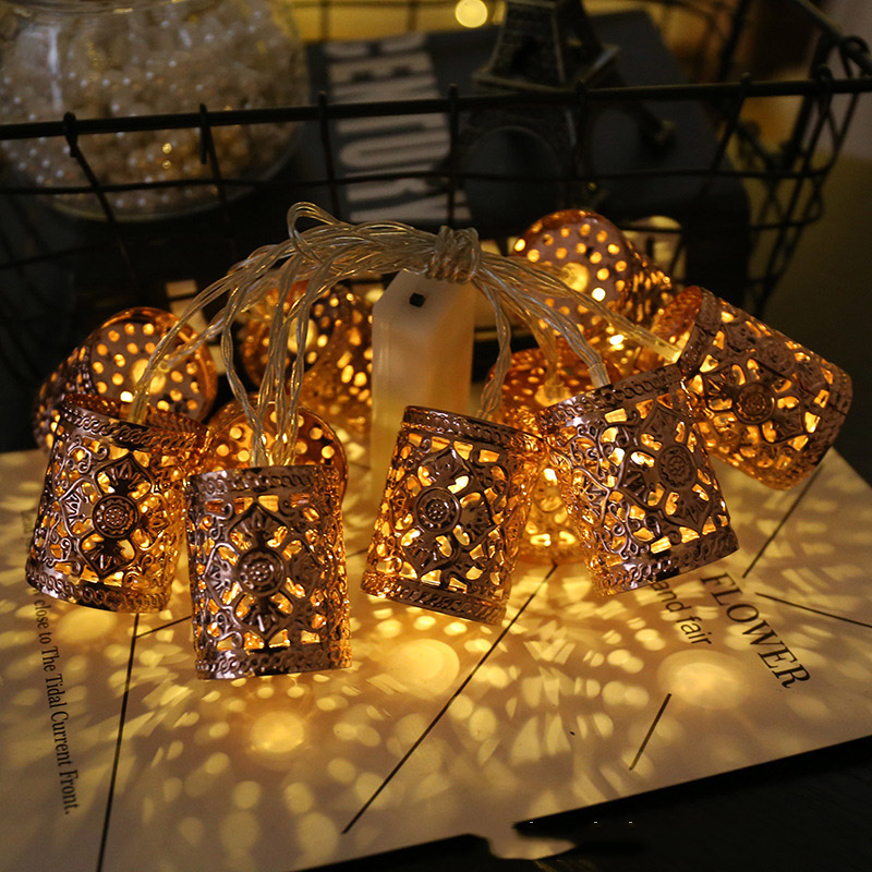 60 Led Retro Geometric Round Lantern Battery Plug String Lights 10m LED Decoration For Christmas Garland On The Window New Year