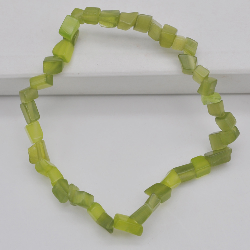 Jewelry & Accessories Generous Lucky Chip Beads Olive Green Cats Eye Stretch Bracelet 8 Inch Jewelry For Gift G723 To Be Renowned Both At Home And Abroad For Exquisite Workmanship Skillful Knitting And Elegant Design Bracelets & Bangles