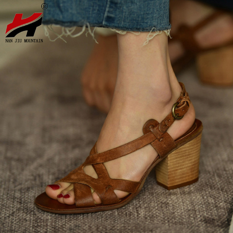 NAN JIU MOUNTAIN 2019 Summer Open Toe High Heel Sandals Women Retro Comfort Square Heel Rear Ankle Strap Sandals 3 Colors