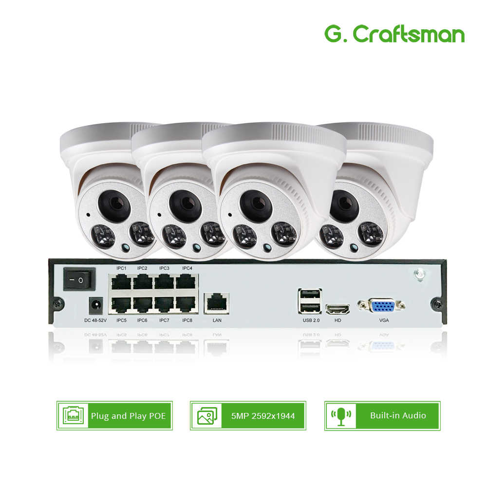4ch 5MP POE Audio Kit H.265 System CCTV Security NVR Up to 16ch 5MP Indoor IR IP Camera Surveillance Video P2P G.Craftsman