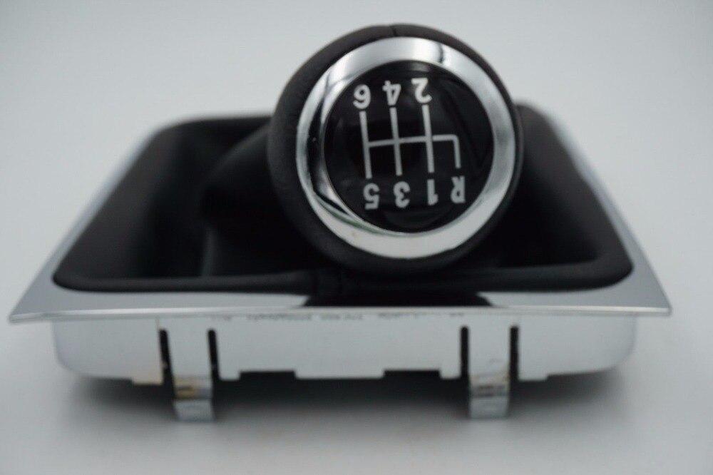 Expédition rapide 6 Vitesse Voiture Levier de Vitesse Bouton Couvert Réel En Cuir Avec Chrome Pour VW Passat B6 CC 3C R36 TDI TFSI TSI 2005-2013