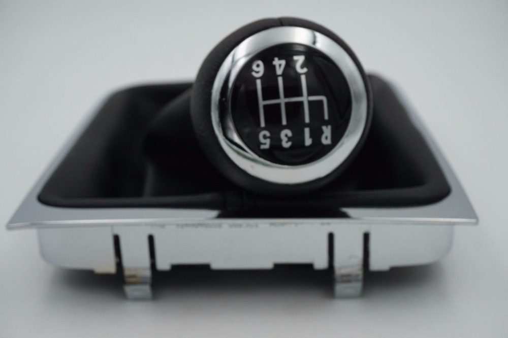 Transporte rápido 6 Velocidade do Deslocamento de Engrenagem Do Carro Botão Coberto de Couro Real Com Chrome Para VW Passat B6 CC R36 3C TDI TSI TFSI 2005-2013