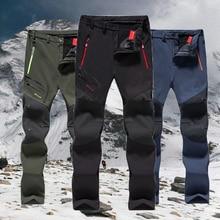 6XL קמפינג טרקים טיולי טיפוס סקי דיג חורף עמיד למים מכנסיים גברים צמר חיצוני Softshell מכנסיים גדול חם