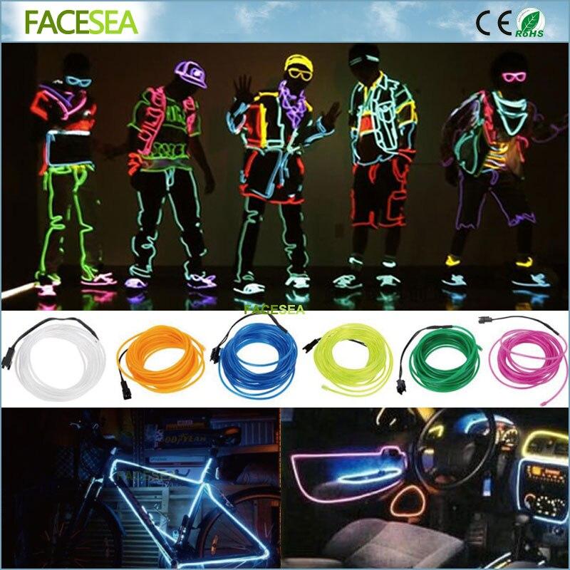 1 м 3 м 5 м LED неоновый свет свечение EL полосы трубки Провода веревки Водонепроницаемый Батарея Рождество автомобилей партия декор гибкая све... ...