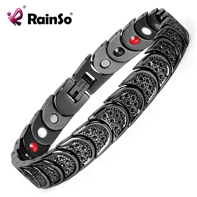 Rainso Titanium Bracelet for Men 4 Elements Health Magnetic Bracelets&Bangles Black Squamiform Design Men's Jewelry OTB-768BFIR