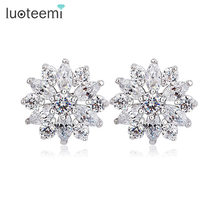 LUOTEEMI Luxury Excellent Cut Cubic Zircon CZ Crystal Flower Earrings Fashion Bridal Wedding Jewelry for Women(China)
