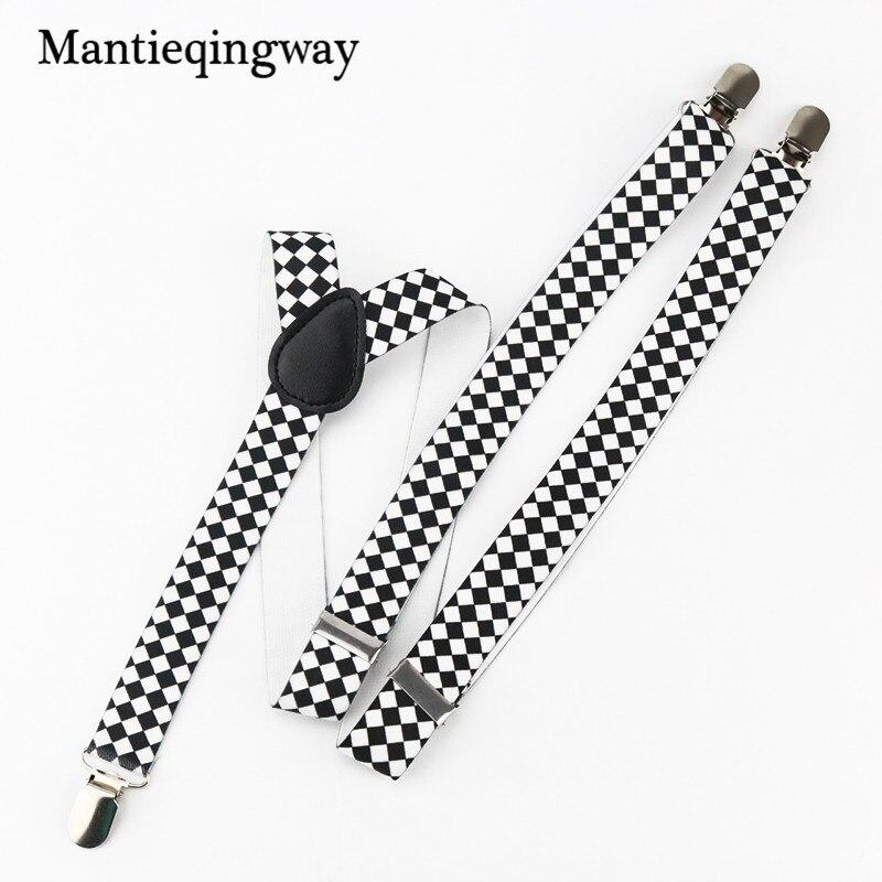 Mantieqingway High Quality Unisex Shirt Suspenders Fashion Classic Plaid Braces Belt Strap Adult Elastic Suspenders Women/Men
