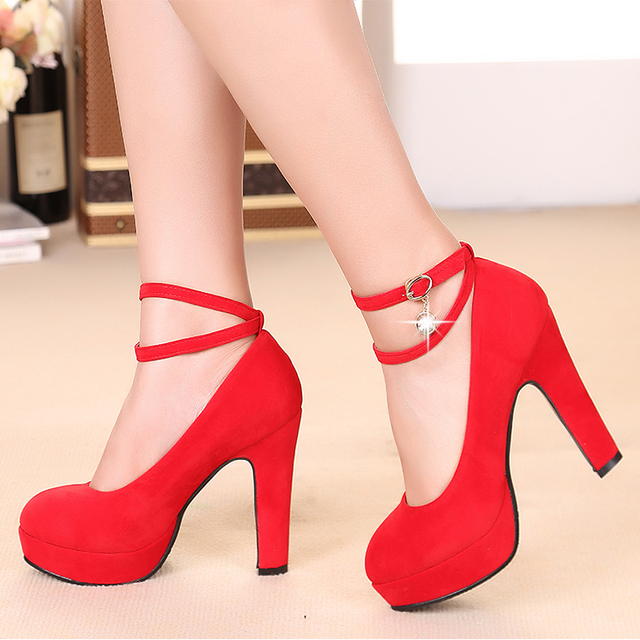 2016 Black Wedding Shoes Female Spring And Autumn Women Red Bridal Thick Heel