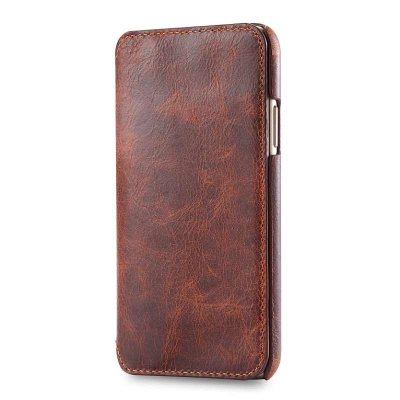 reputable site f36d9 d2bd8 Solque Real Genuine Leather Flip Cover Case For iPhone X XS Max XR Cell  Phone Luxury Retro Vintage Card Holder Wallet Book Case