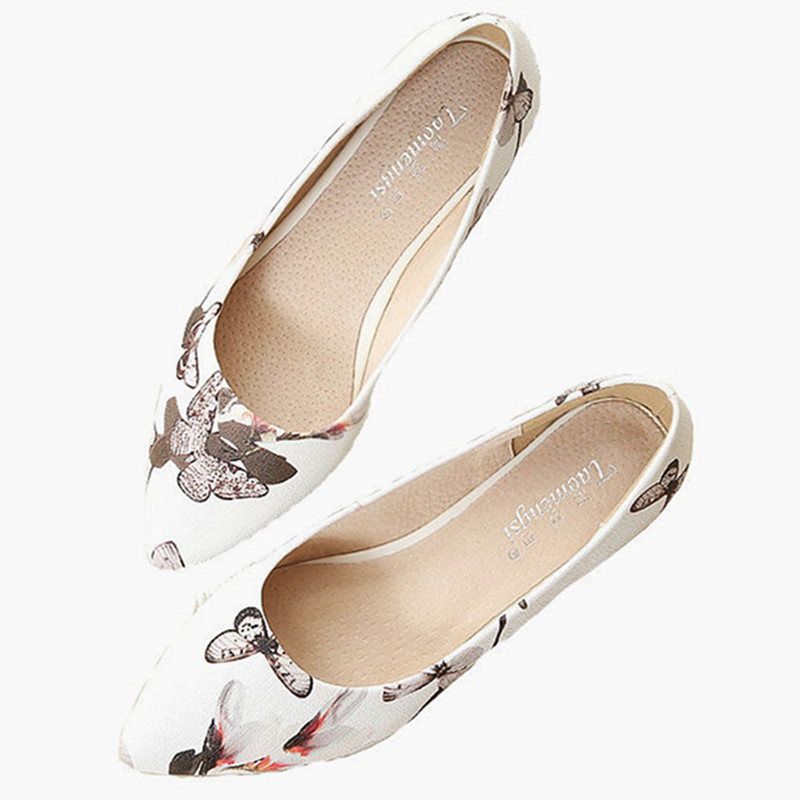 43 L'été white Confortables Pu Dames beige Pour Plates Femmes Nouvelle Imprimé Chaussures Floral Appartements Taille Black Orteil Point Grande Printemps Casual De ZqzxURE