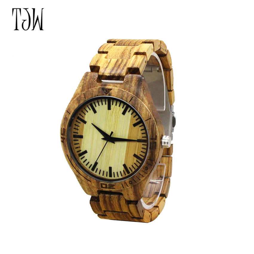 TJW  2018 Hot Sale japanese movement wristwatches bamboo wooden watches for men and women japanese miyota 2035 movement wristwatches genuine leather bamboo wooden watches for men and women gifts relogio masculino