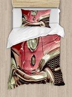 Светло розовый постельное белье Классический Винтаж автомобиль с ретро Стиль ностальгические старые мода авто изображения 4 шт. Постельное