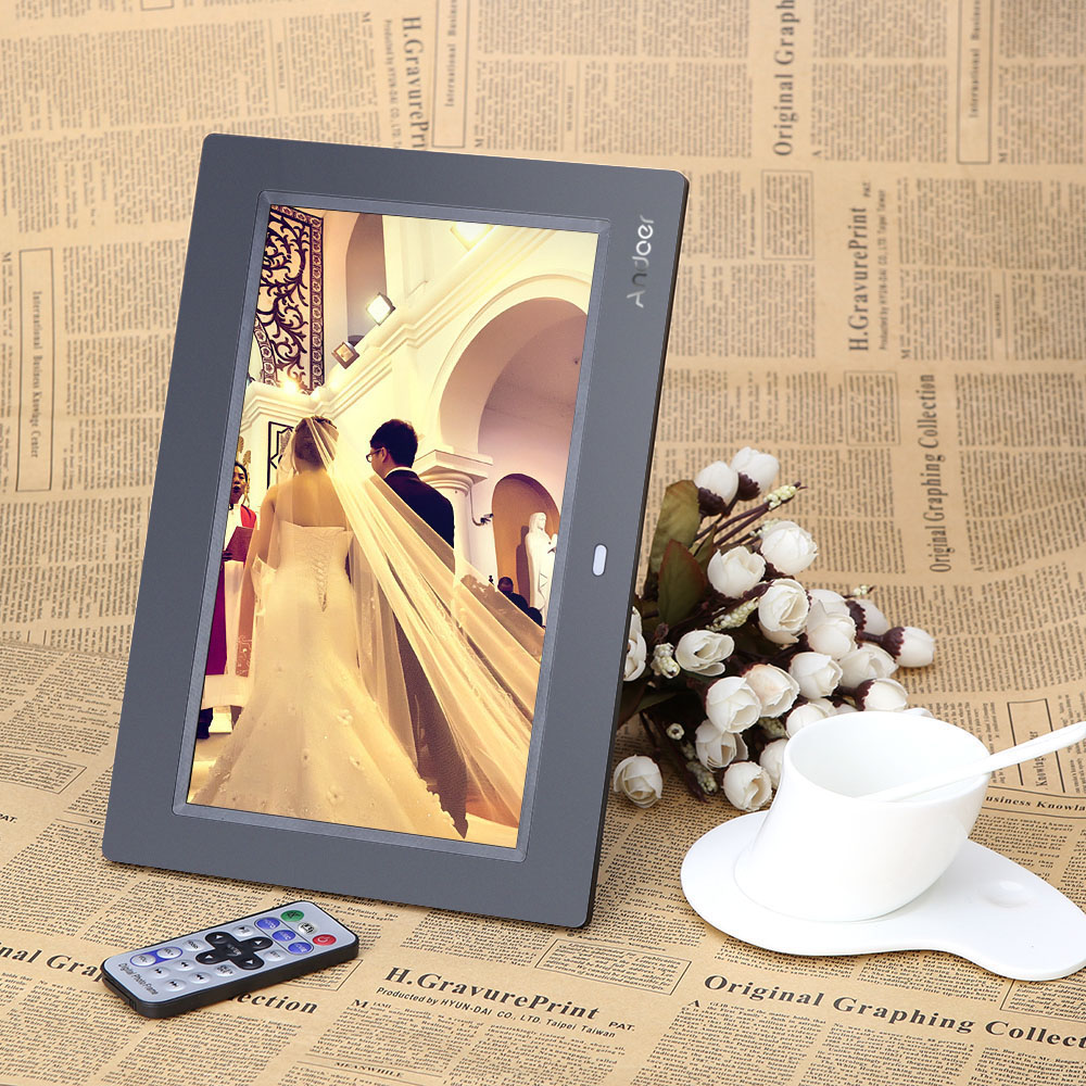 """10"""" HD TFT-LCD 1024*600 Digital Photo Frame Clock MP3 MP4 Movie Player with Remote Desktop"""