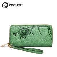 Luxury wallets woman 2019 designer genuine leather bag ZOOLER embossed soft leather wallets clutch hand bag G200