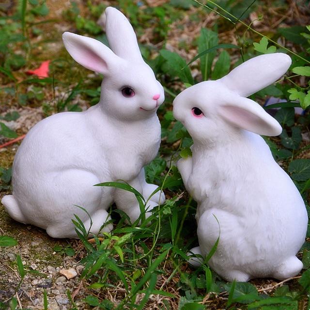 Us 1881 5 Off2 Stücke Weiße Farbe Harz Kaninchen Garten Home Dekoration Künstliche Tiere Skulptur Bunny Kaninchen In 2 Stücke Weiße Farbe